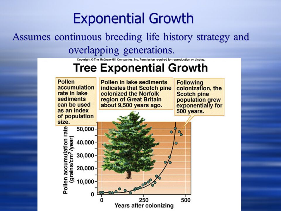 Exponential Growth Assumes continuous breeding life history strategy and overlapping generations.