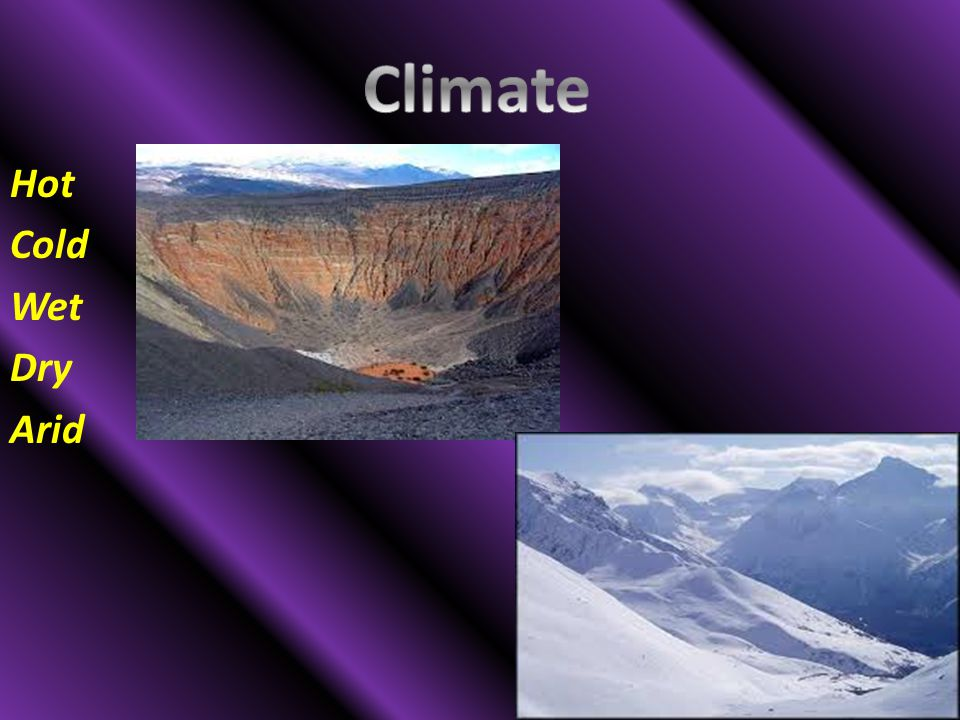 Climate Hot Cold Wet Dry Arid