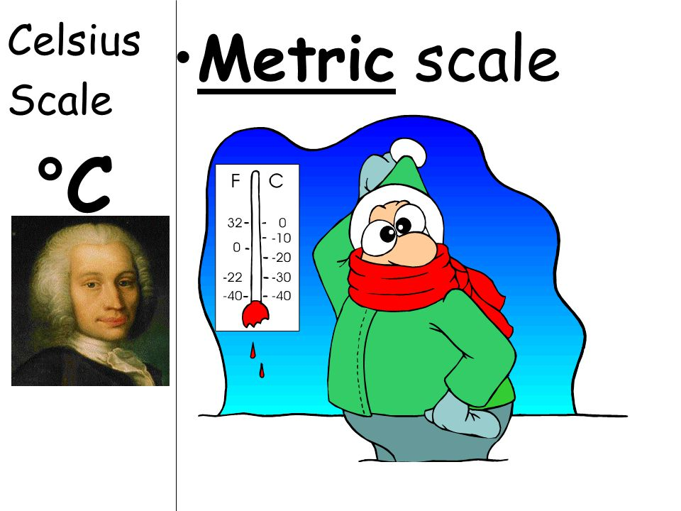 Celsius Scale Metric scale °C
