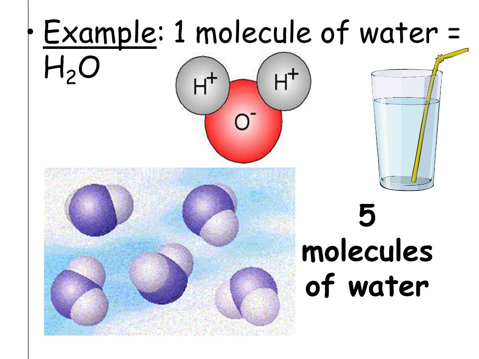 Example: 1 molecule of water = H2O