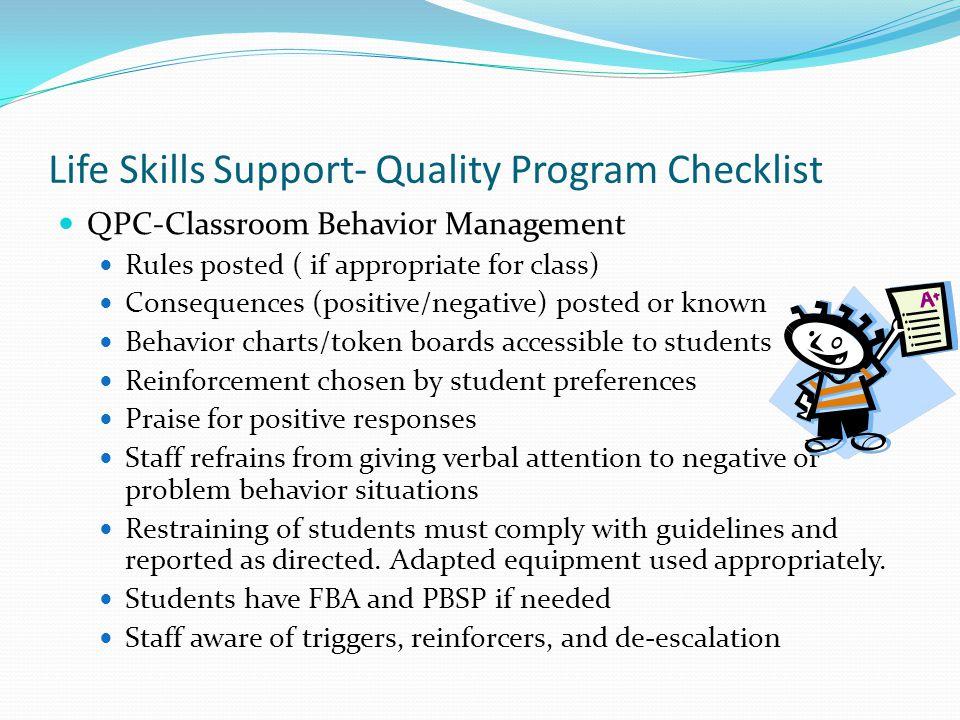 Life Skills Support- Quality Program Checklist