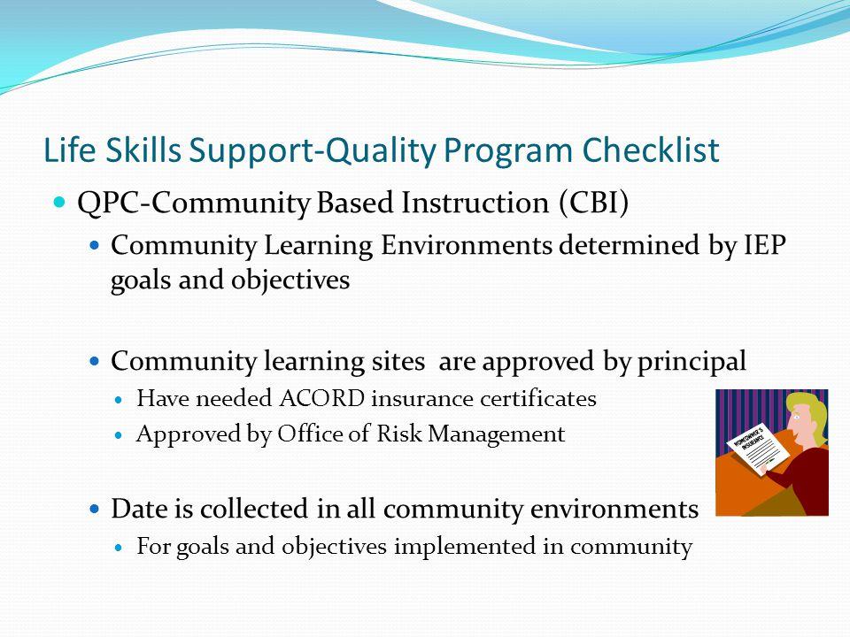 Life Skills Support-Quality Program Checklist