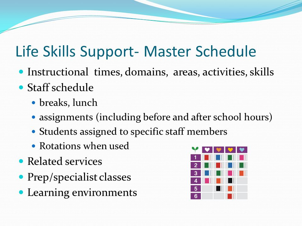 Life Skills Support- Master Schedule