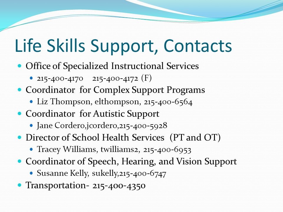 Life Skills Support, Contacts