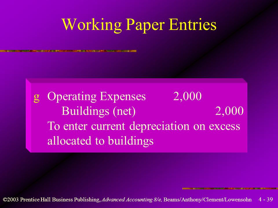 Working Paper Entries g Operating Expenses 2,000 Buildings (net) 2,000