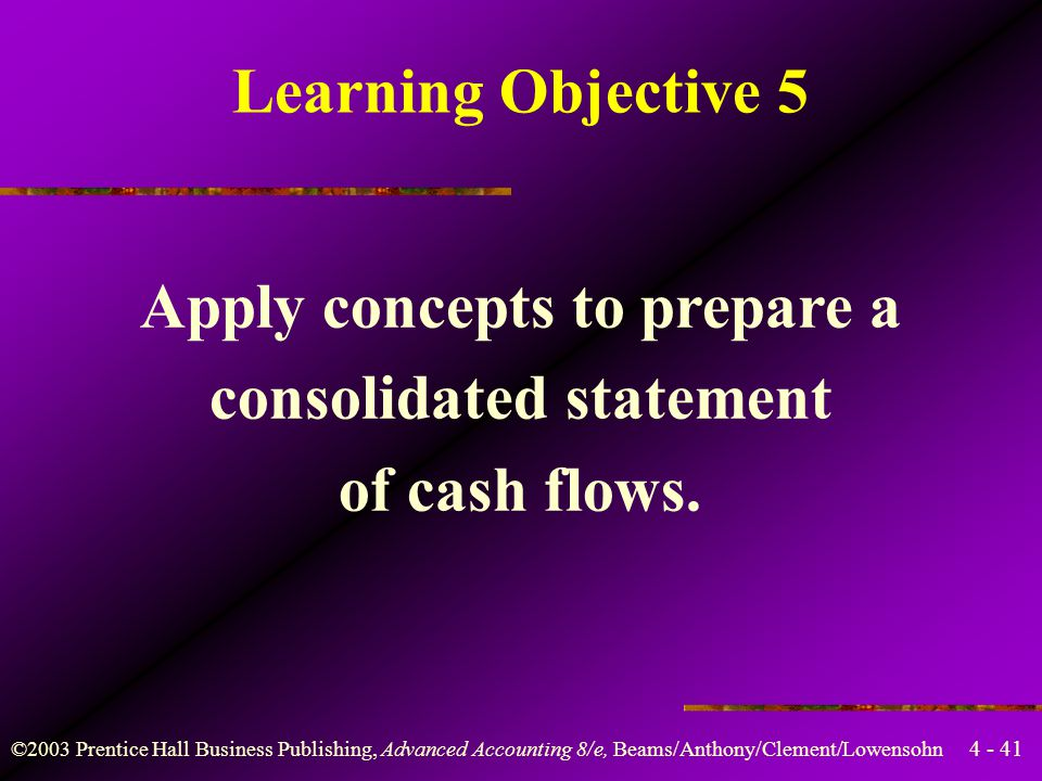 Apply concepts to prepare a consolidated statement