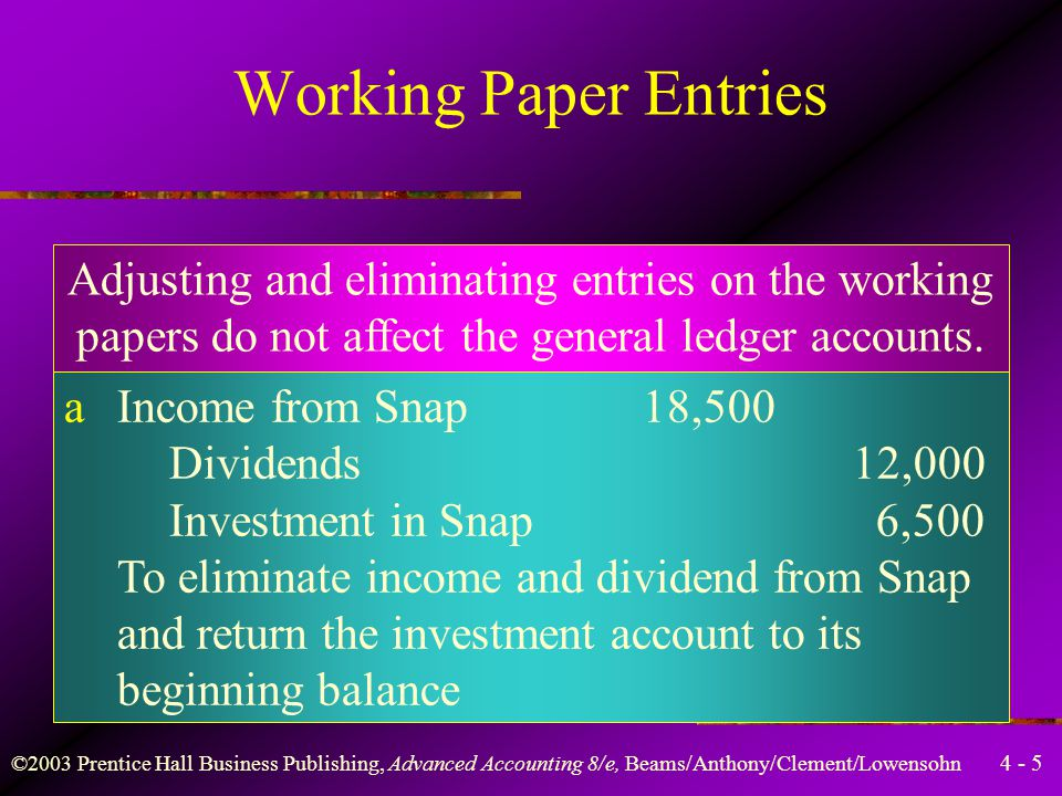 Working Paper Entries Adjusting and eliminating entries on the working