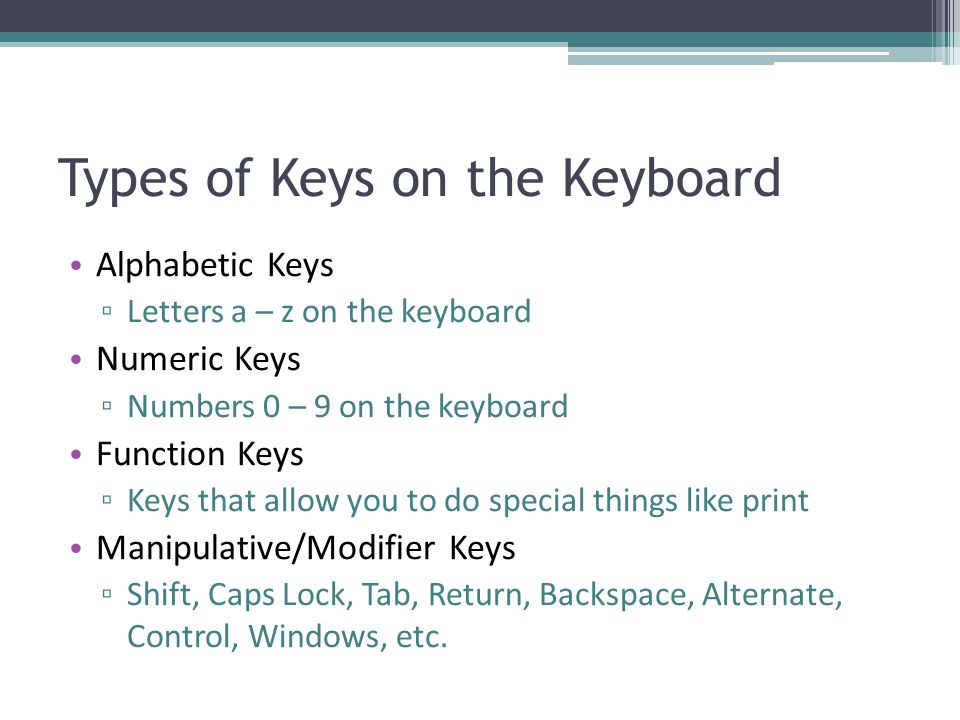Types of Keys on the Keyboard