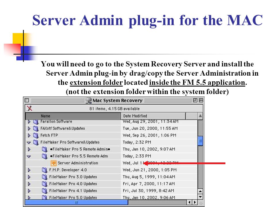 Server Admin plug-in for the MAC