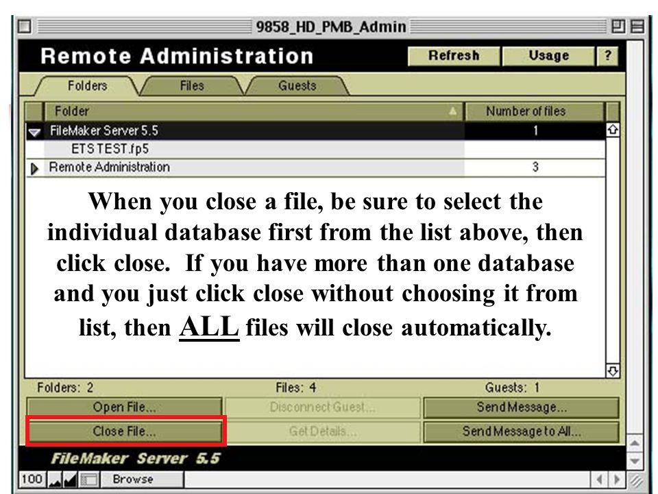 When you close a file, be sure to select the individual database first from the list above, then click close.