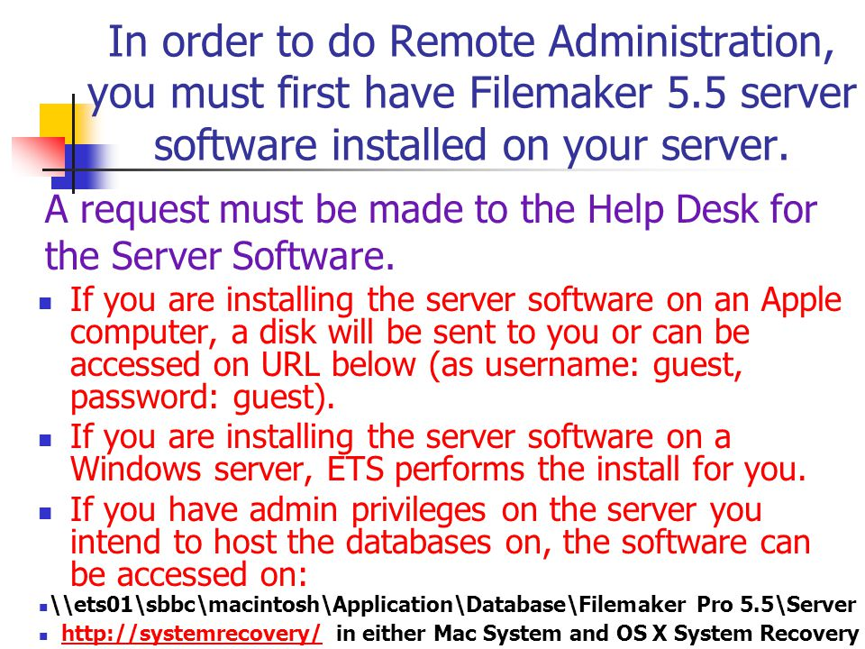 In order to do Remote Administration, you must first have Filemaker 5