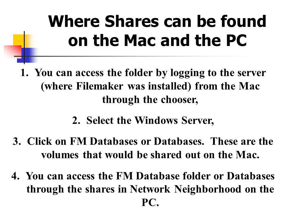 Where Shares can be found on the Mac and the PC