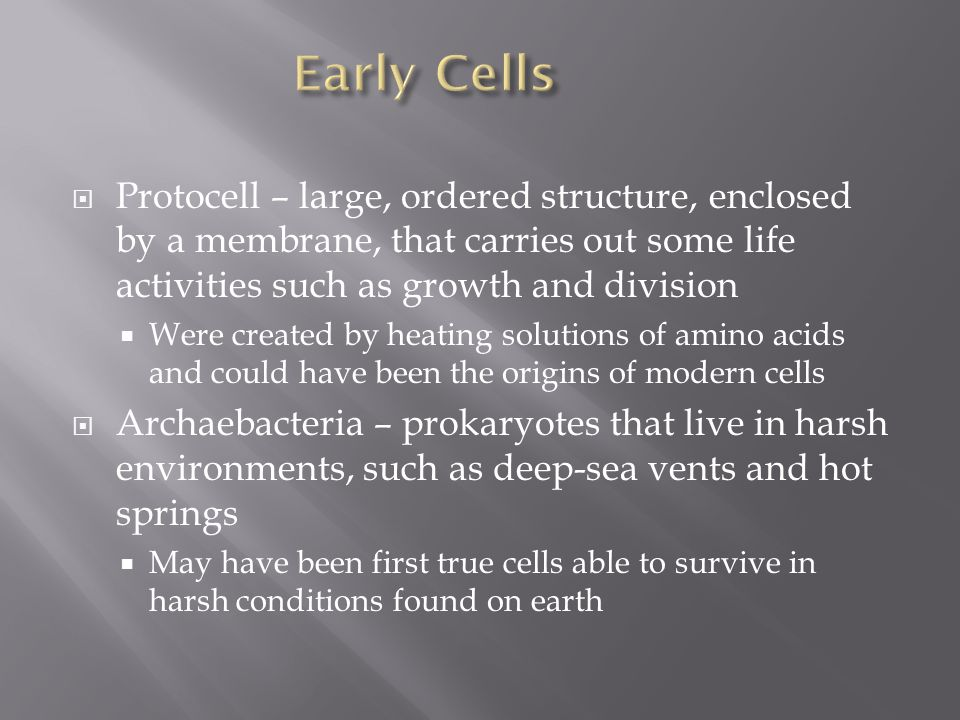 Early Cells Protocell – large, ordered structure, enclosed by a membrane, that carries out some life activities such as growth and division.