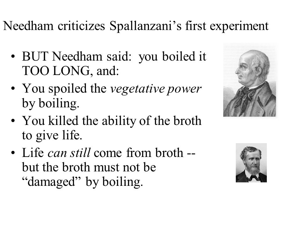 Needham criticizes Spallanzani's first experiment
