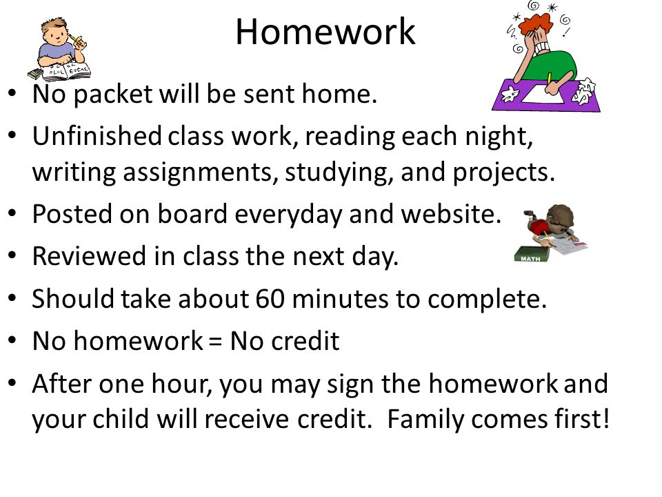 Homework No packet will be sent home.
