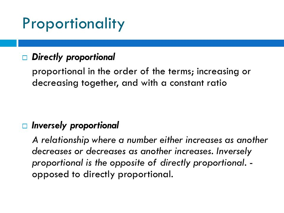 Proportionality Directly proportional