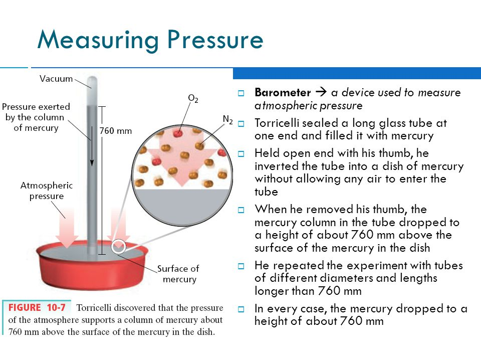 Measuring Pressure Barometer  a device used to measure atmospheric pressure.