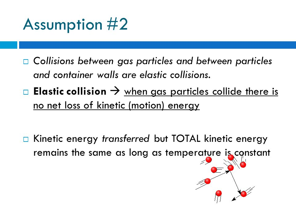 Assumption #2 Collisions between gas particles and between particles and container walls are elastic collisions.