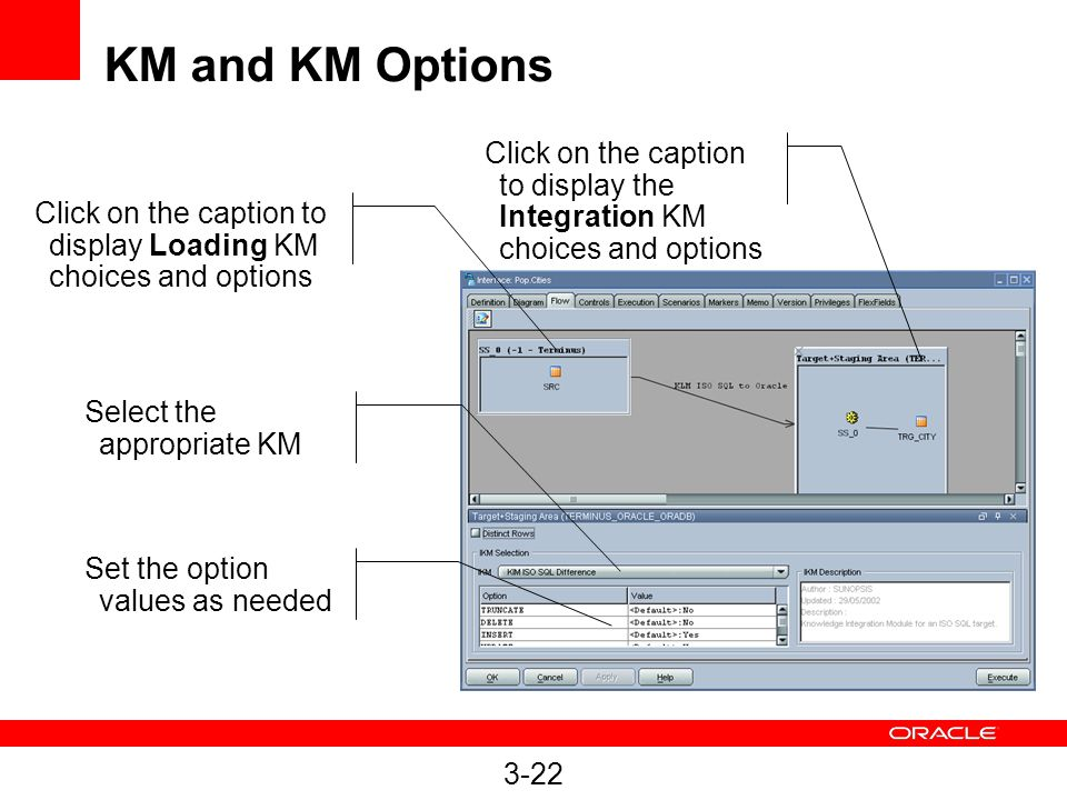 KM and KM Options Click on the caption to display the Integration KM choices and options.