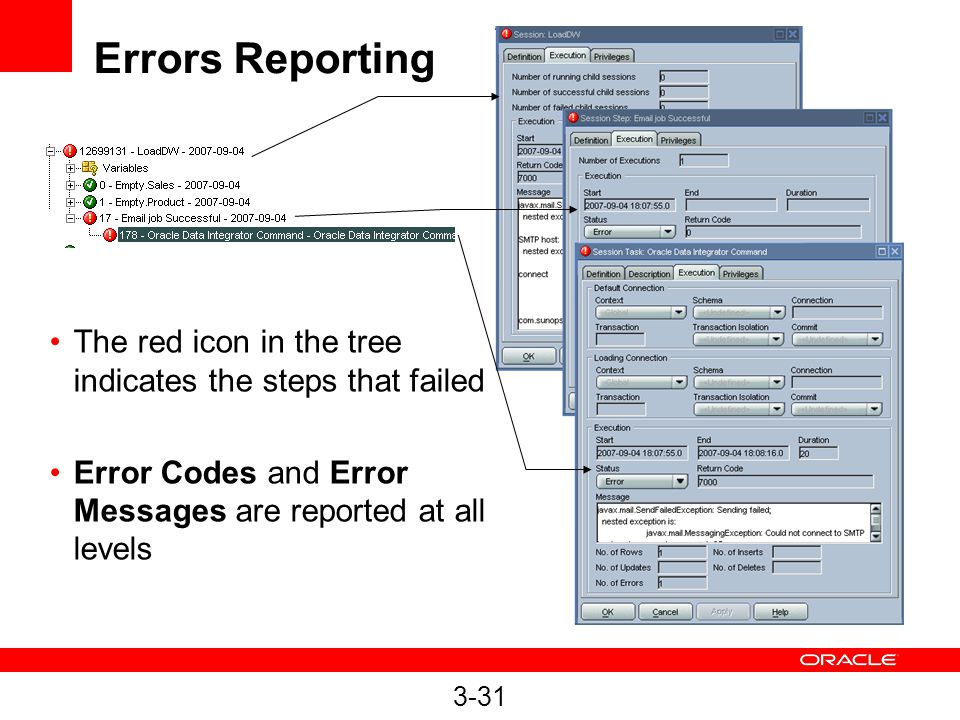 Errors Reporting The red icon in the tree indicates the steps that failed. Error Codes and Error Messages are reported at all levels.