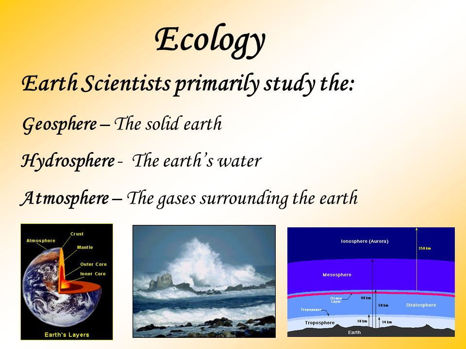 Ecology Earth Scientists primarily study the: