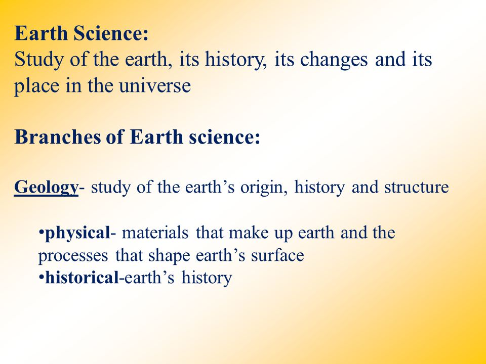 Branches of Earth science:
