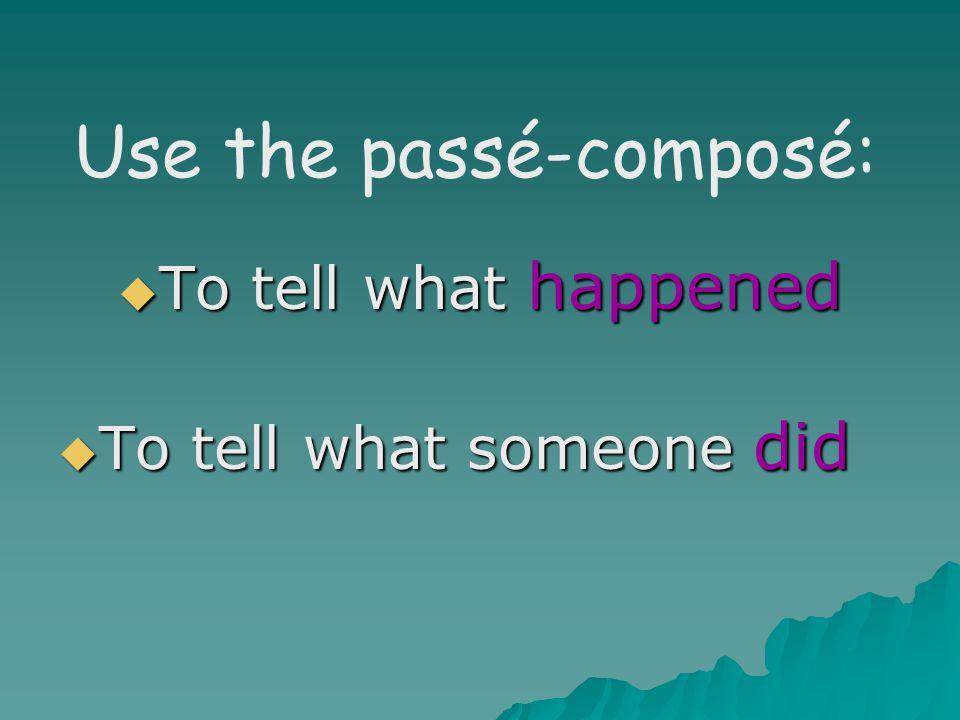 Use the passé-composé: