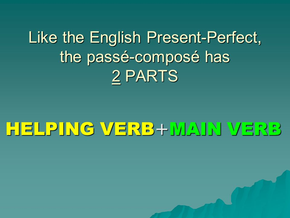 Like the English Present-Perfect, the passé-composé has 2 PARTS