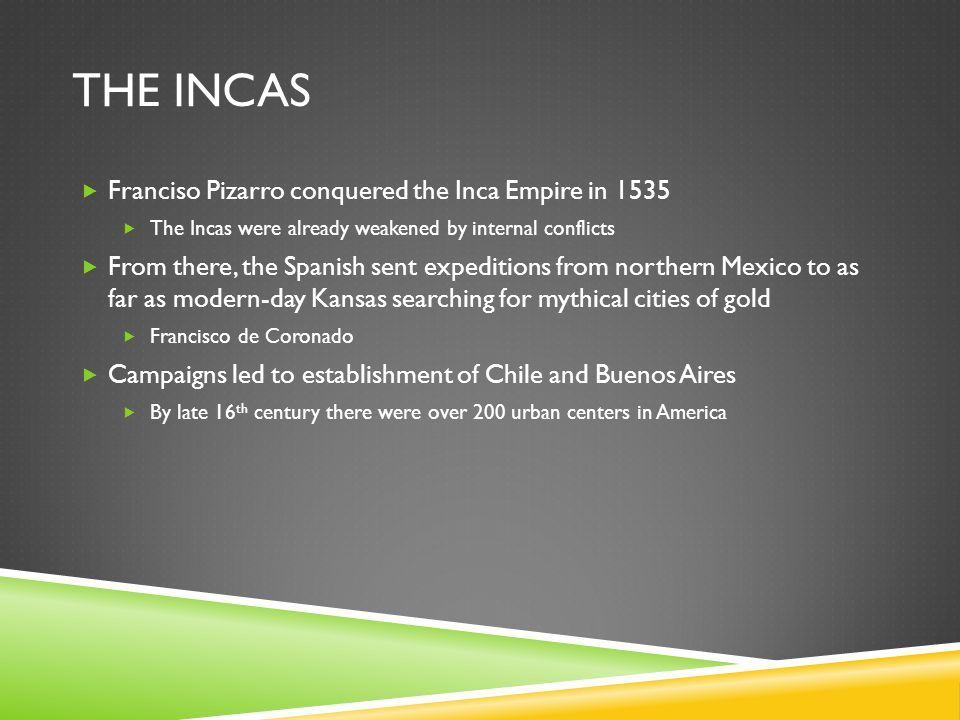 The incas Franciso Pizarro conquered the Inca Empire in 1535