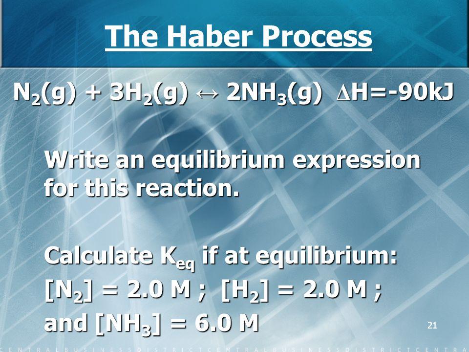 The Haber Process N2(g) + 3H2(g) ↔ 2NH3(g) ΔH=-90kJ
