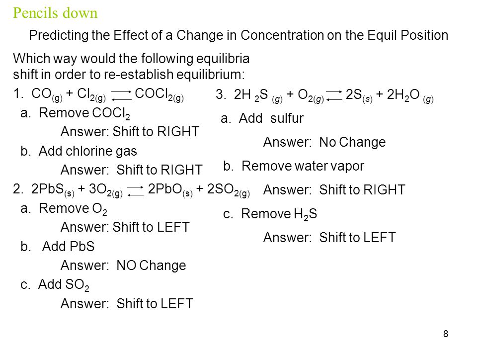 Pencils down Predicting the Effect of a Change in Concentration on the Equil Position.