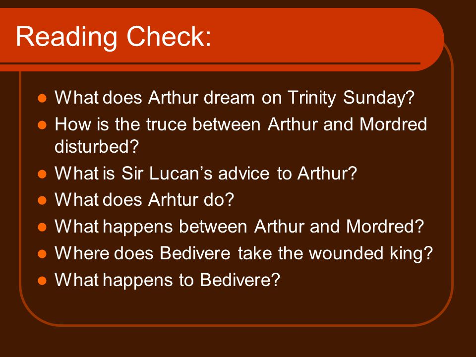Reading Check: What does Arthur dream on Trinity Sunday