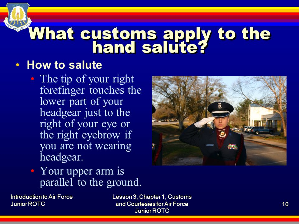 What customs apply to the hand salute