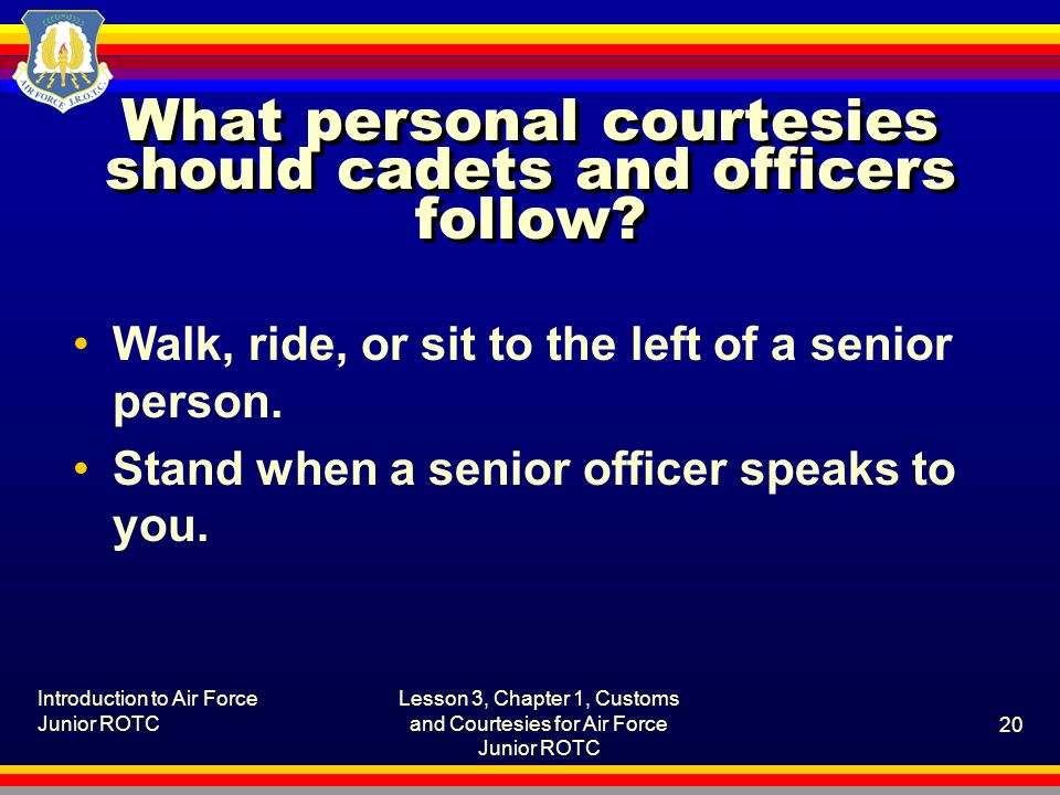 What personal courtesies should cadets and officers follow