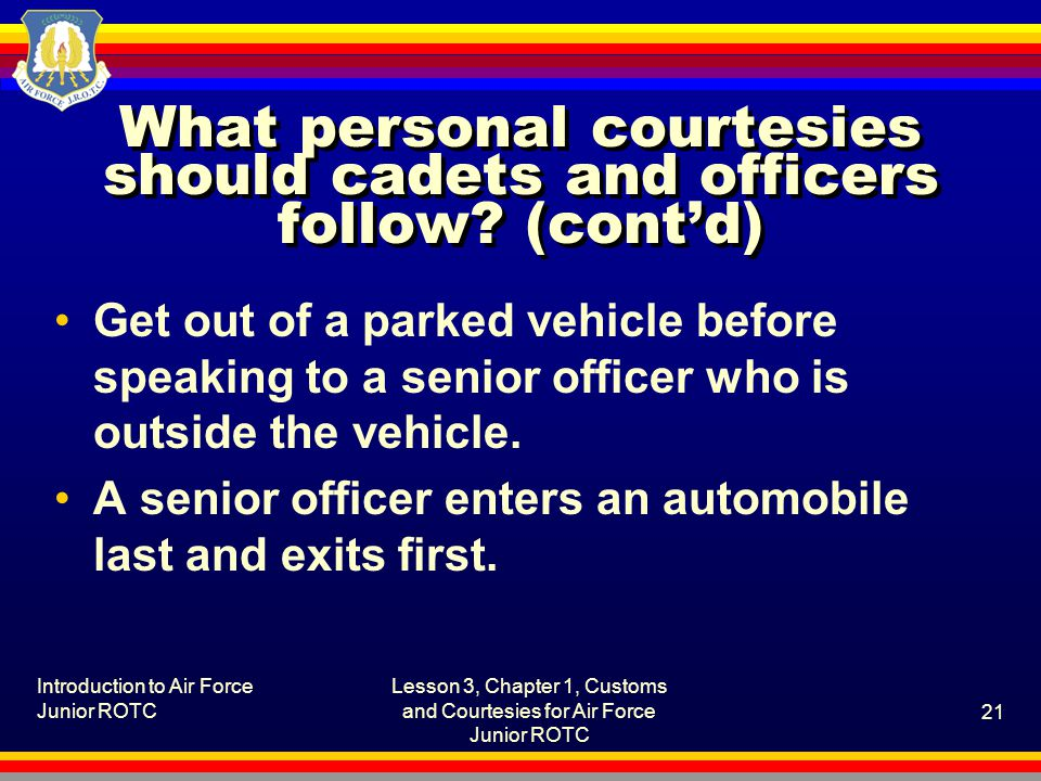 What personal courtesies should cadets and officers follow (cont'd)