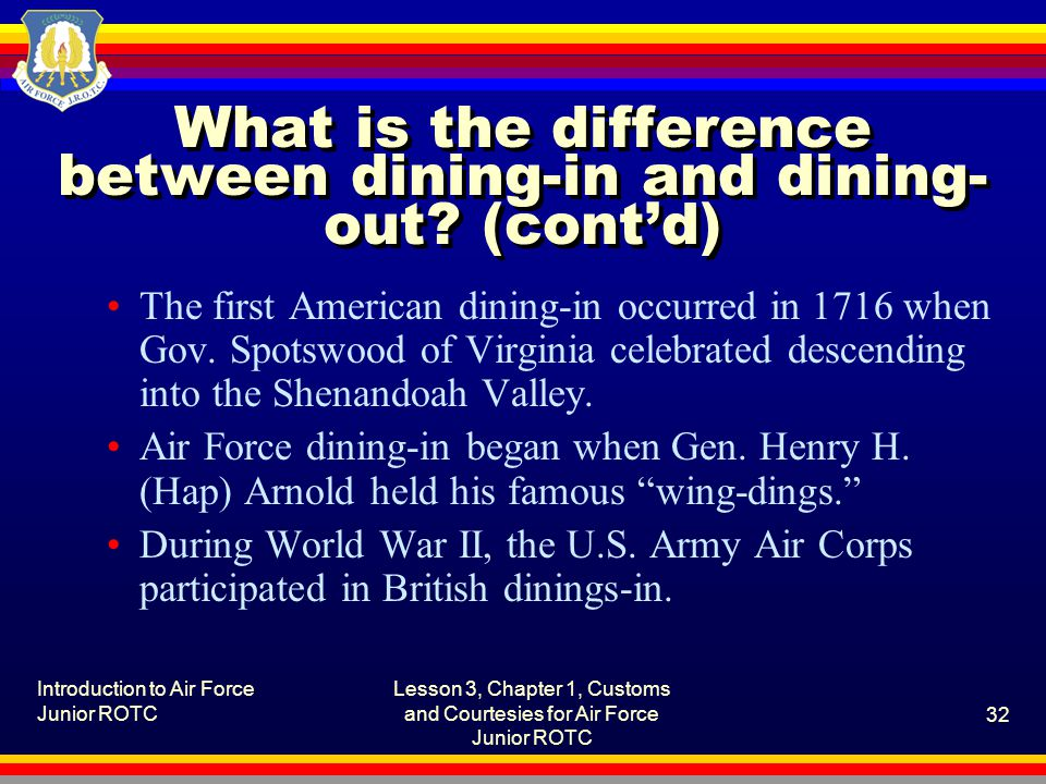 What is the difference between dining-in and dining-out (cont'd)