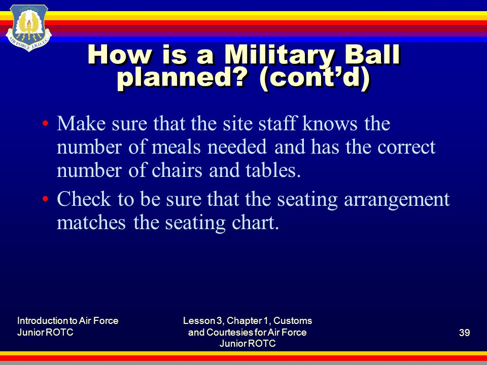 How is a Military Ball planned (cont'd)