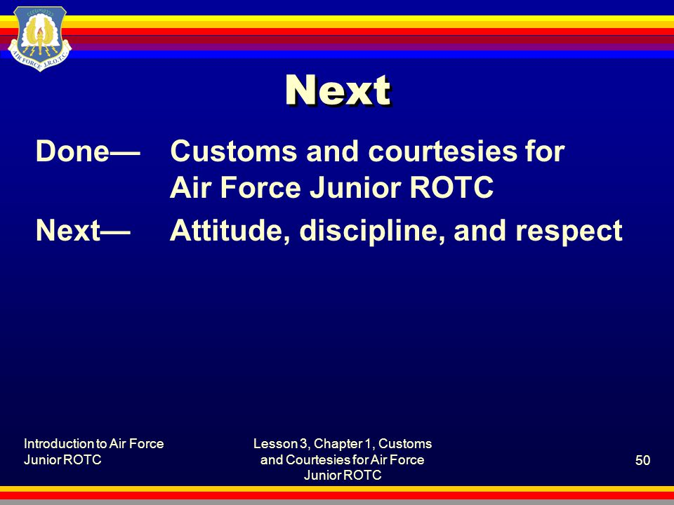 Lesson 3, Chapter 1, Customs and Courtesies for Air Force Junior ROTC