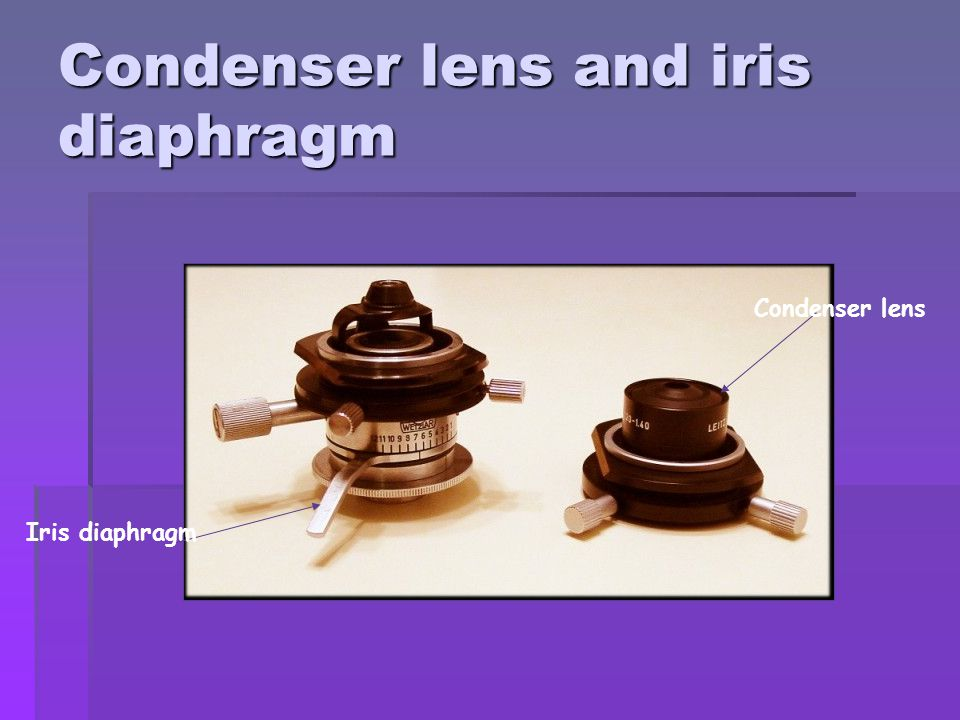 Condenser lens and iris diaphragm