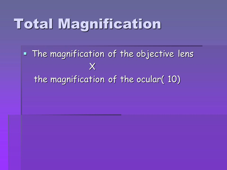 Total Magnification The magnification of the objective lens X