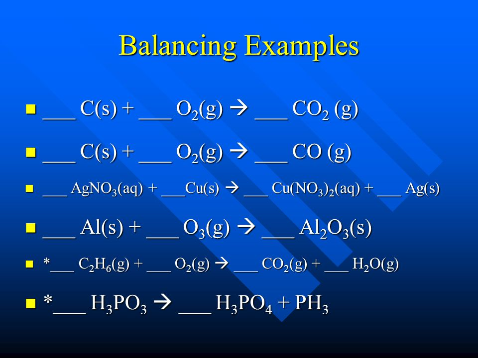 Balancing Examples ___ C(s) + ___ O2(g)  ___ CO2 (g)
