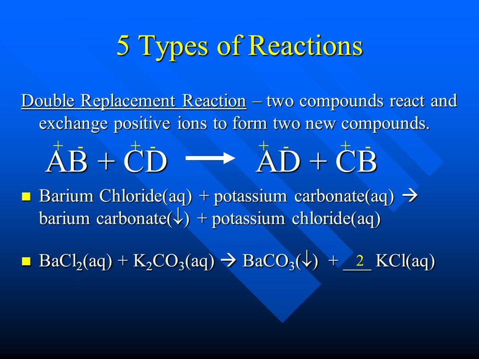 AB + CD AD + CB 5 Types of Reactions