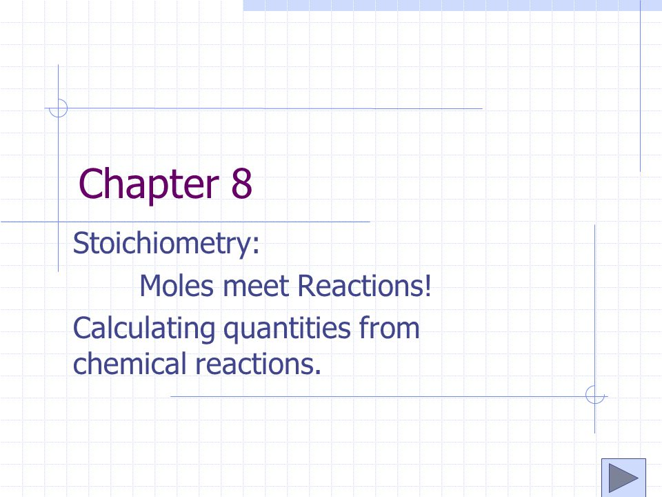Chapter 8 Stoichiometry: Moles meet Reactions!