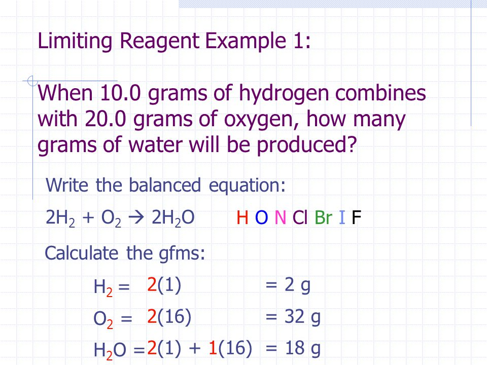 Limiting Reagent Example 1: When 10.0 grams of hydrogen combines