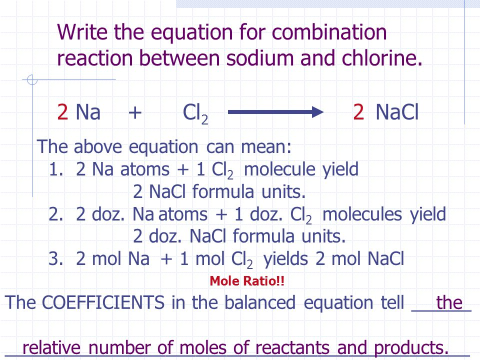 Write the equation for combination reaction between sodium and chlorine.