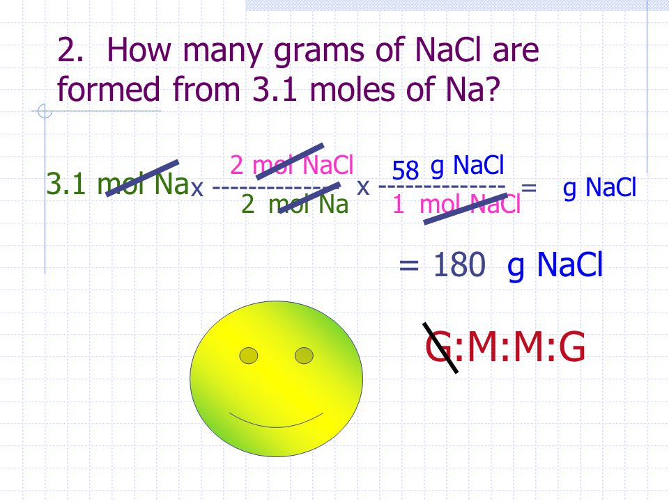2. How many grams of NaCl are formed from 3.1 moles of Na