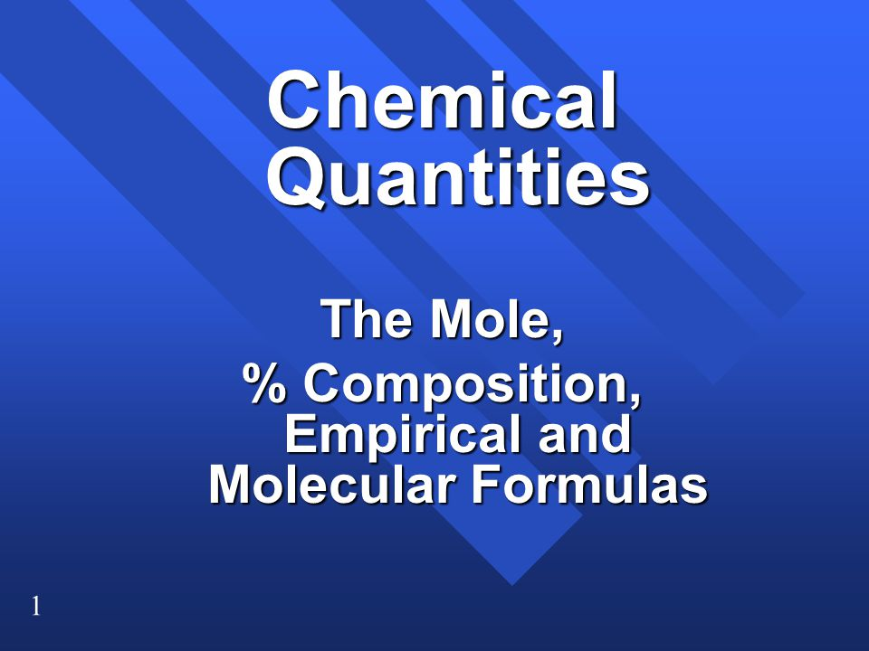% Composition, Empirical and Molecular Formulas