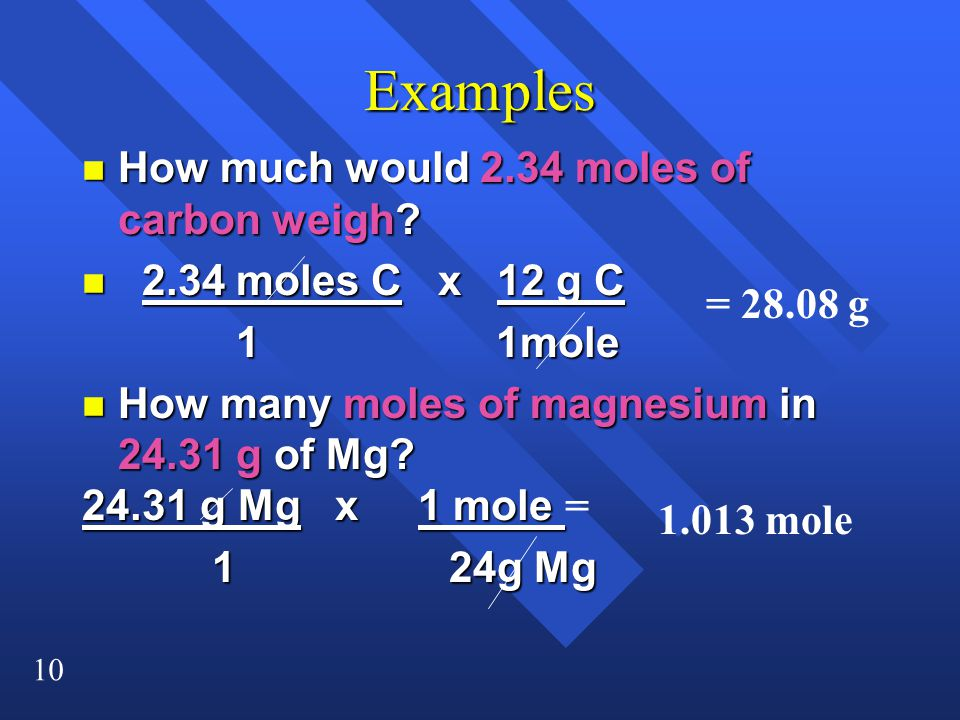 Examples How much would 2.34 moles of carbon weigh