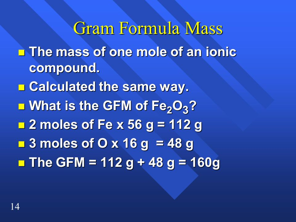 Gram Formula Mass The mass of one mole of an ionic compound.