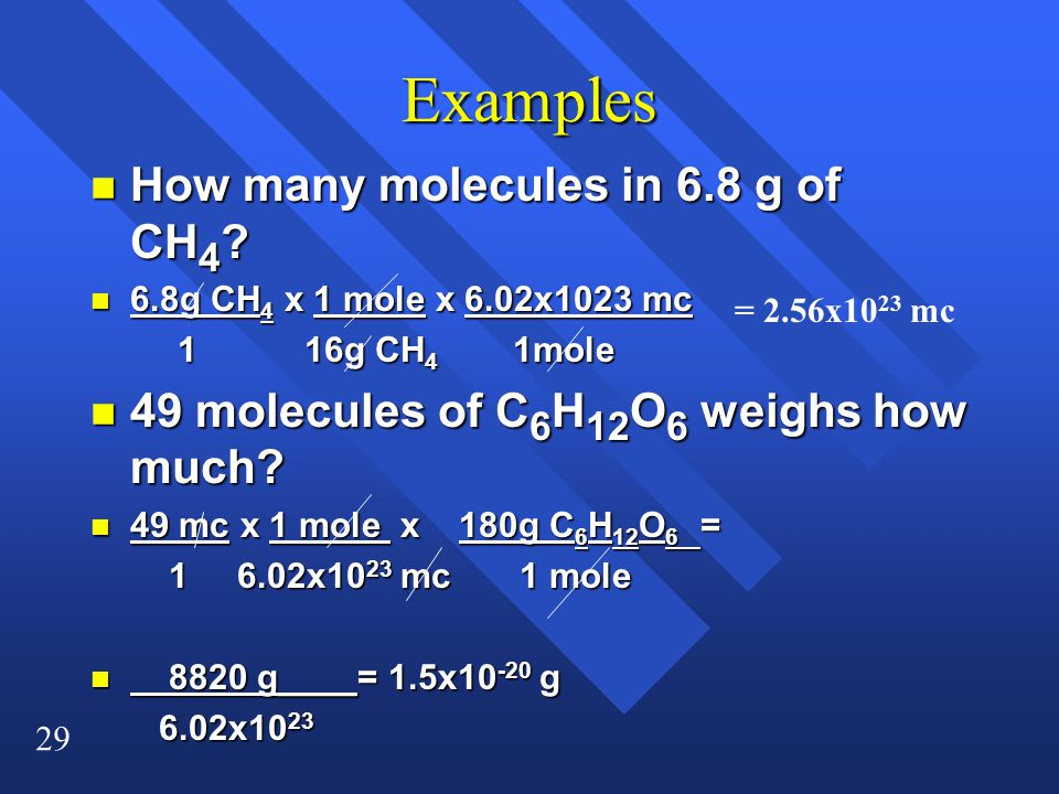 Examples How many molecules in 6.8 g of CH4